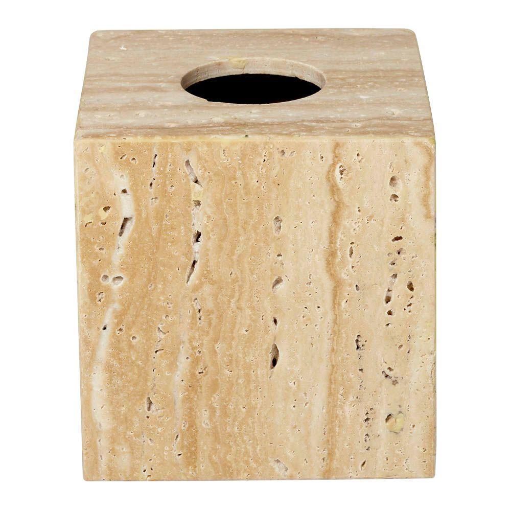 6 in. Tissue Box Cover in Travertine Stone