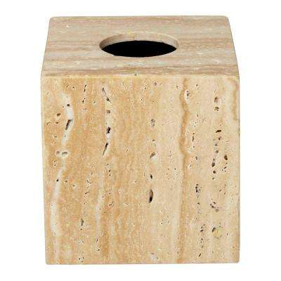6 in. Tissue Box Cover in Travertine Stone