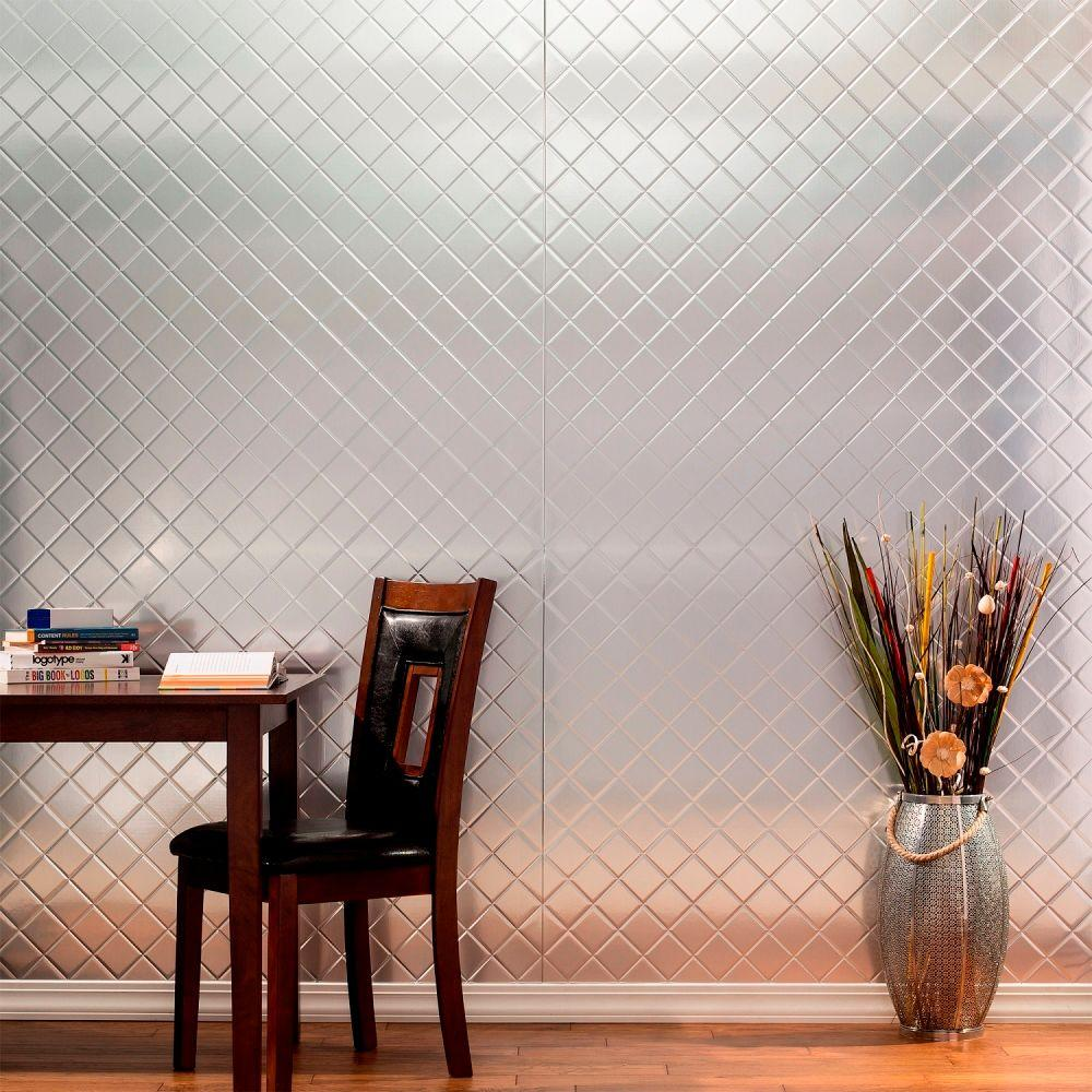96 in. x 48 in. Quilted Decorative Wall Panel in Argent