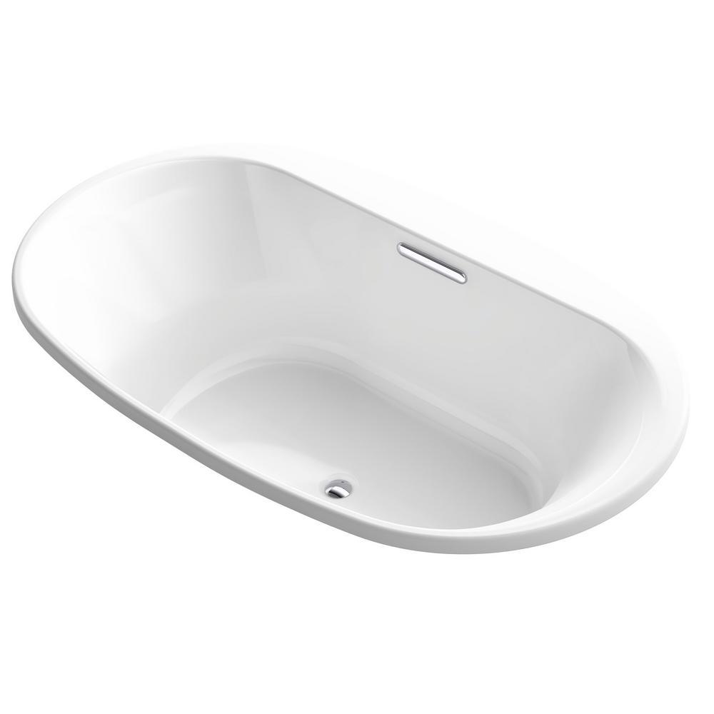 KOHLER Underscore 6 ft. Acrylic Oval Drop-in  Rectangular Non-Whirlpool Bathtub in White