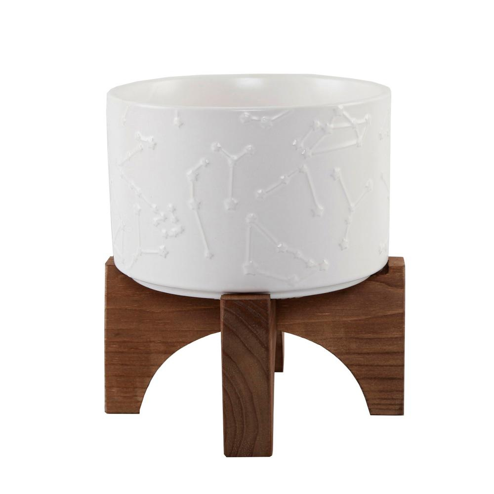 7 in. Matte White Constellation Ceramic Pot on Wood Stand Mid-Century Planter