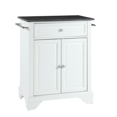 Lafayette White Portable Kitchen Island with Granite Top