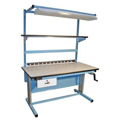 60 in. x 30 in. Ergonomic Height Adjustable Work Bench with ESD Laminate Work Surface, Bench in a Box in Light Blue