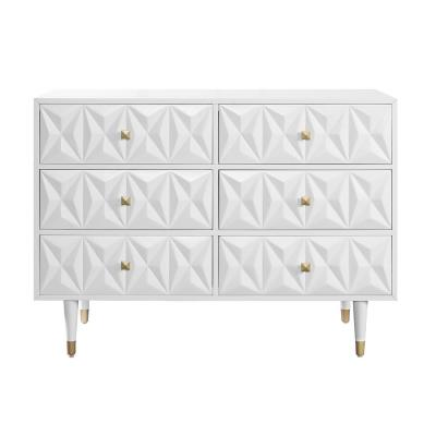 Dixon Six Drawer Geo Texture Dresser White