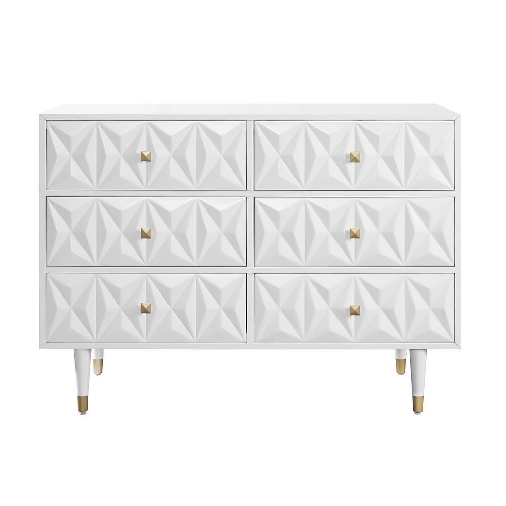 Dixon Six Drawer Geo Texture Dresser White