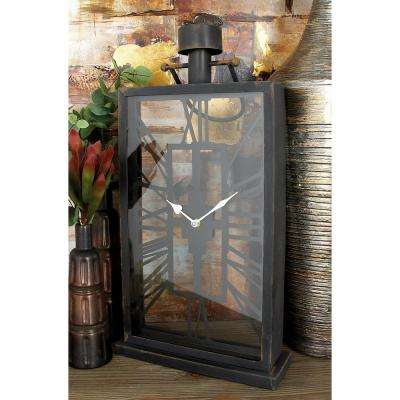 27 in. x 12 in. Black Iron and Clear Glass Vertical Rectangular Table Clock