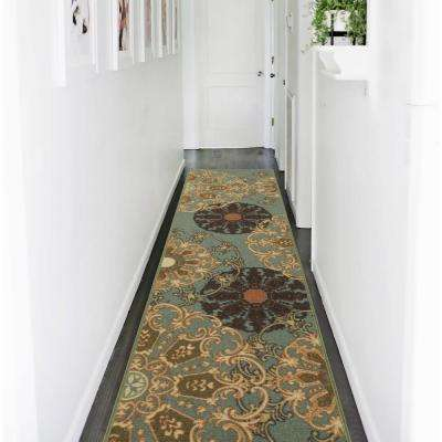 Ottohome Collection Contemporary Damask Design Sage Green 2 ft. x 7 ft. Runner Rug