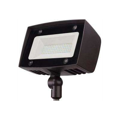 High-Output Architectural Dark Bronze Outdoor Integrated LED Flood Light with 5000 Lumens and DLC-Rating