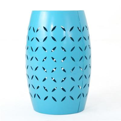 Lilac Blue Round Metal Outdoor Side Table