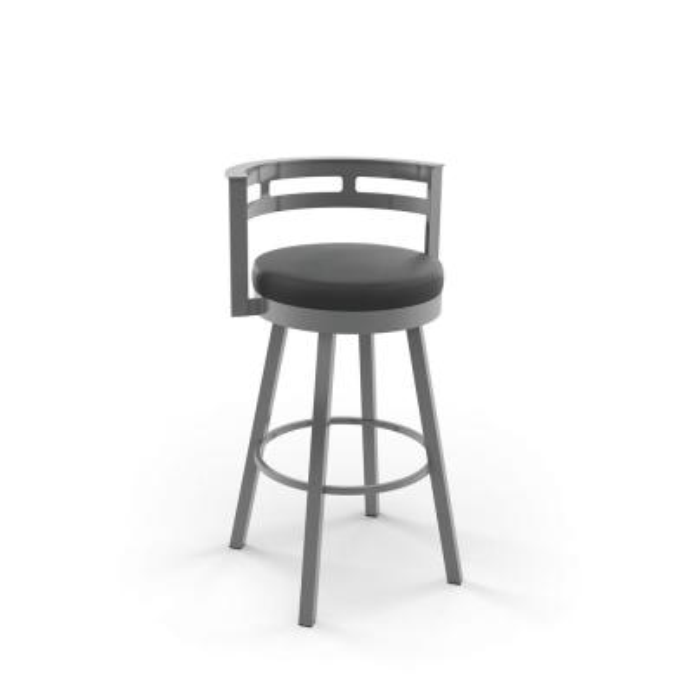 Render 30 in. Glossy Grey Metal Mat Charcoal Black Polyurethane Barstool