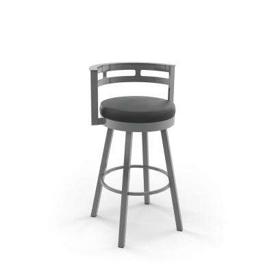 Render 26 in. Glossy Grey Metal Mat Charcoal Black Polyurethane Counter Stool
