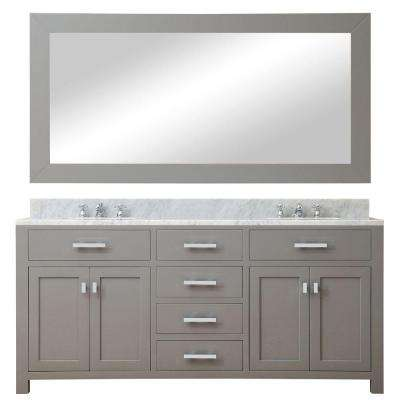 72 in. W x 21 in. D Vanity in Cashmere Grey with Marble Vanity Top in Carrara White, Mirror and Chrome Faucets