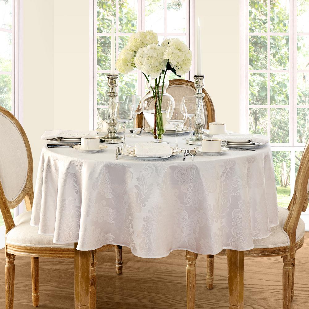 Gentil Round White Elrene Barcelona Damask Fabric Tablecloth