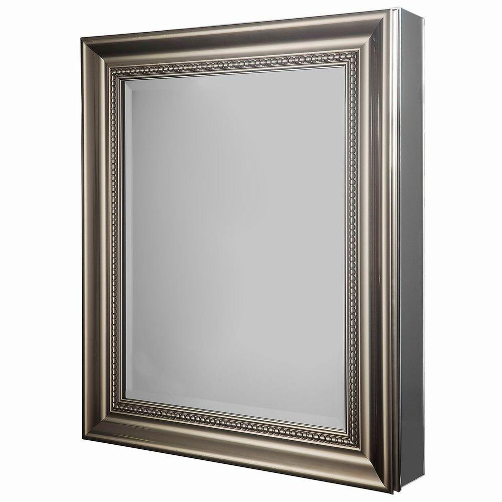 H Framed Recessed Or Surface Mount Bathroom Medicine Cabinet In Brushed Nickel