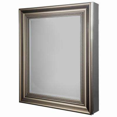 24 in. W x 29-1/8 in. H Framed Recessed or Surface-Mount Bathroom Medicine Cabinet in Brushed Nickel