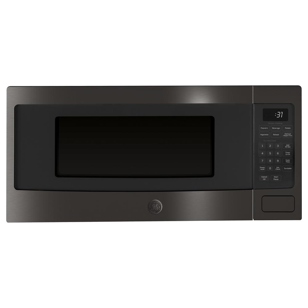 Ge Profile 1 Cu Ft Countertop Microwave In Black Stainless Steel With Sensor Cooking