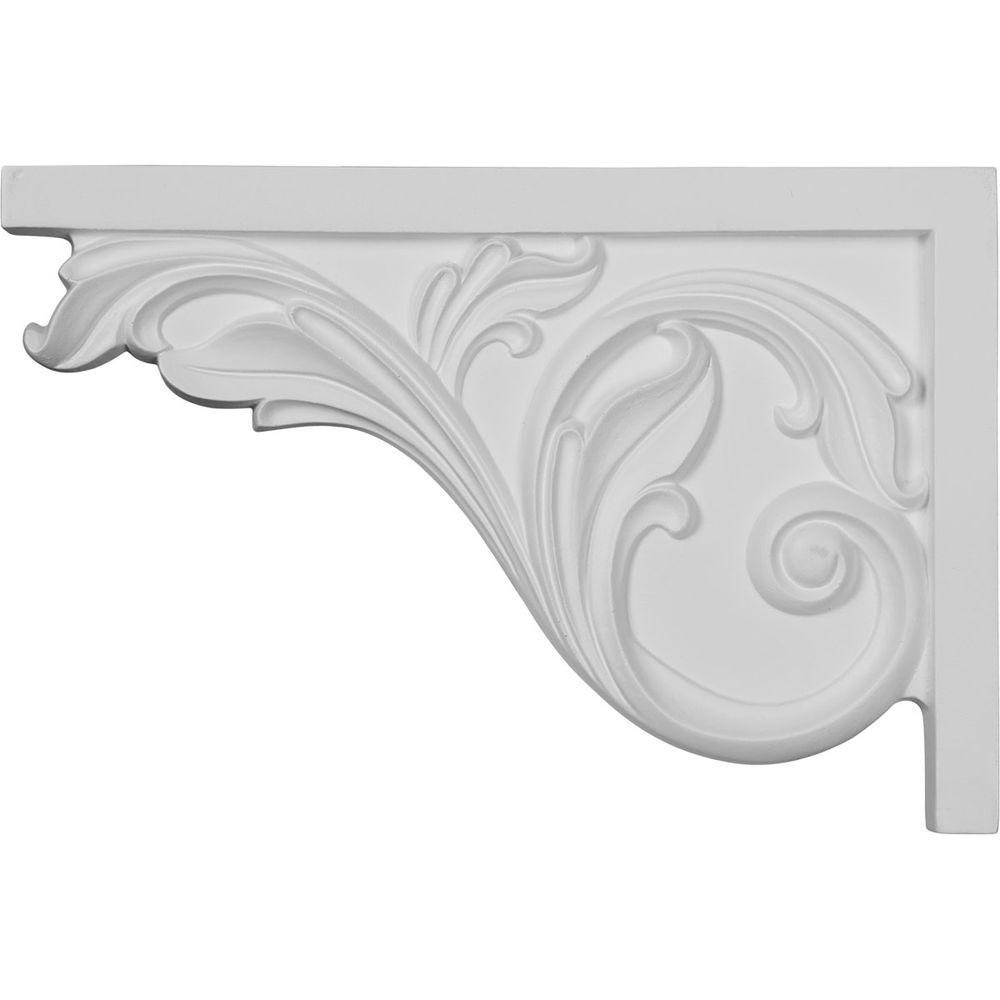 Ekena Millwork 3/4 in. x 11-3/4 in. x 7-3/4 in. Polyurethane Left Large Acanthus Stair Bracket Moulding