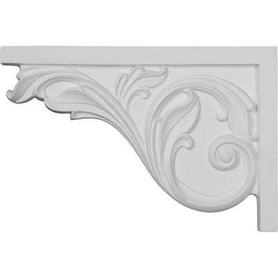3/4 in. x 11-3/4 in. x 7-3/4 in. Polyurethane Left Large Acanthus Stair Bracket Moulding