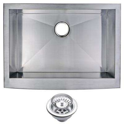Farmhouse Apron Front Stainless Steel 30 in. Single Basin Kitchen Sink with Strainer in Satin