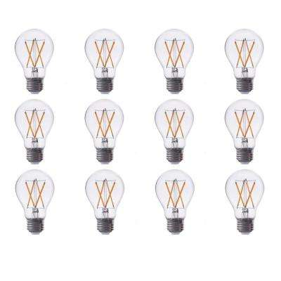 60-Watt Equivalent A19 Dimmable Filament Glass LED Light Bulb Warm White 2700K (12-Pack)