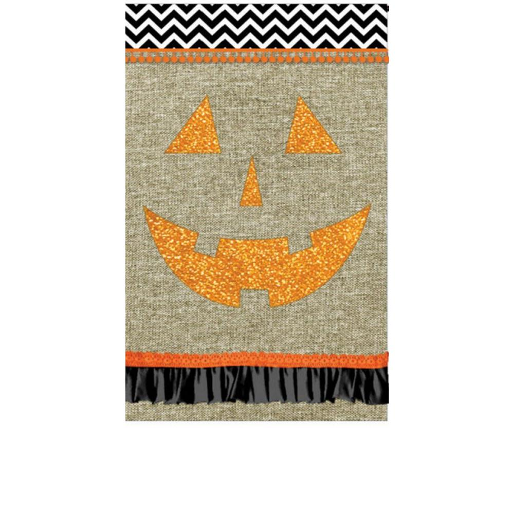 Evergreen 1 ft. x 1-1/2 ft. Garden Burlap Jack-O-Lantern Flag