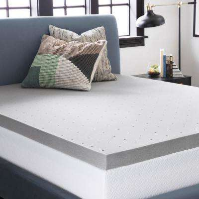 3 in. King Bamboo Charcoal Memory Foam Mattress Topper