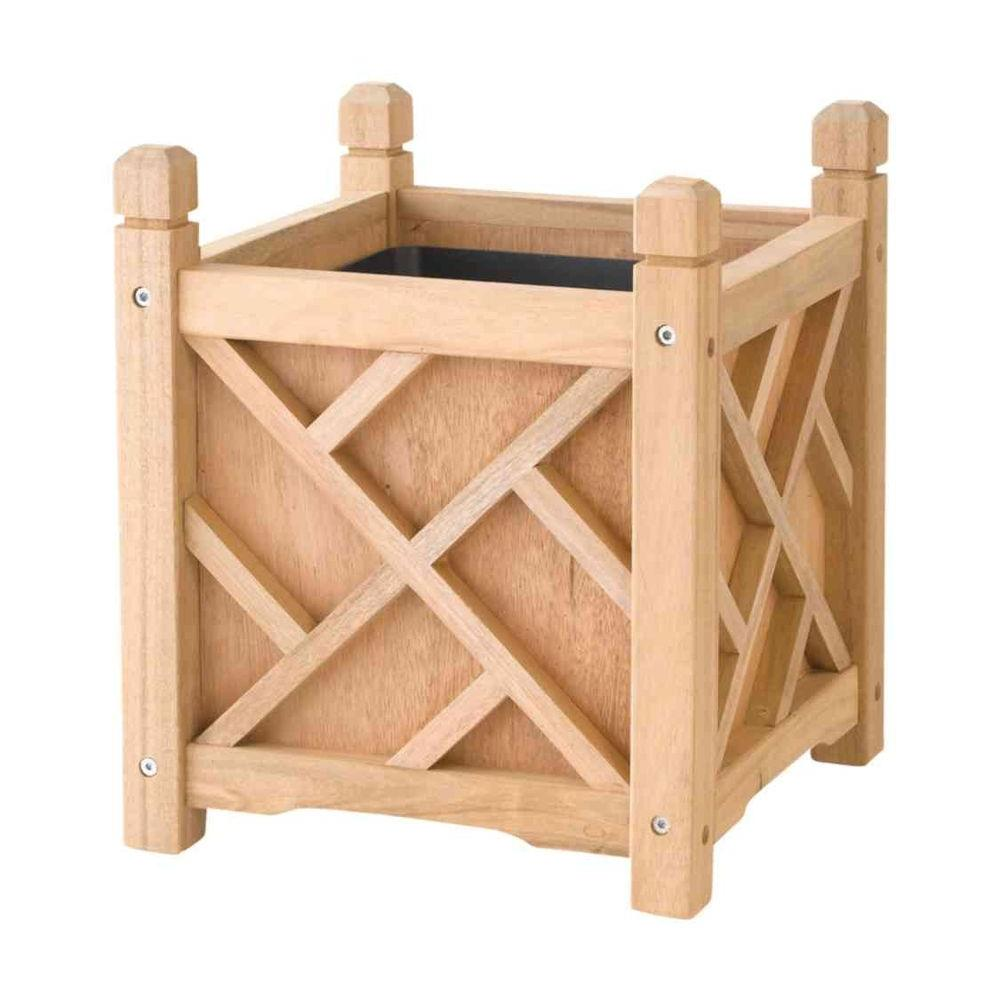 DMC Chippendale 14 in. Square Natural Wood Planter