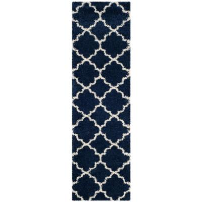 Hudson Shag Navy/Ivory 2 ft. 3 in. x 6 ft. Runner Rug