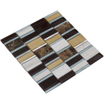 Tallia/01, Mahogany and Silver, 3 in. x 6 in. x 8 mm Glass/Stone/Metal Mesh-Mounted Mosaic Tile Sample