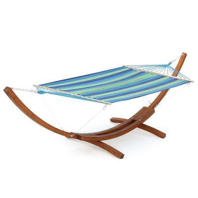 Richardson 6 ft. Free Standing Fabric Hammock with Stand in Blue Green Stripe