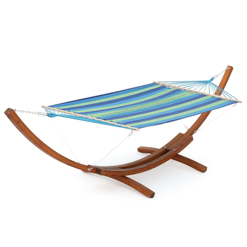 Bon Free Standing Fabric Hammock With Stand In Blue Green Stripe