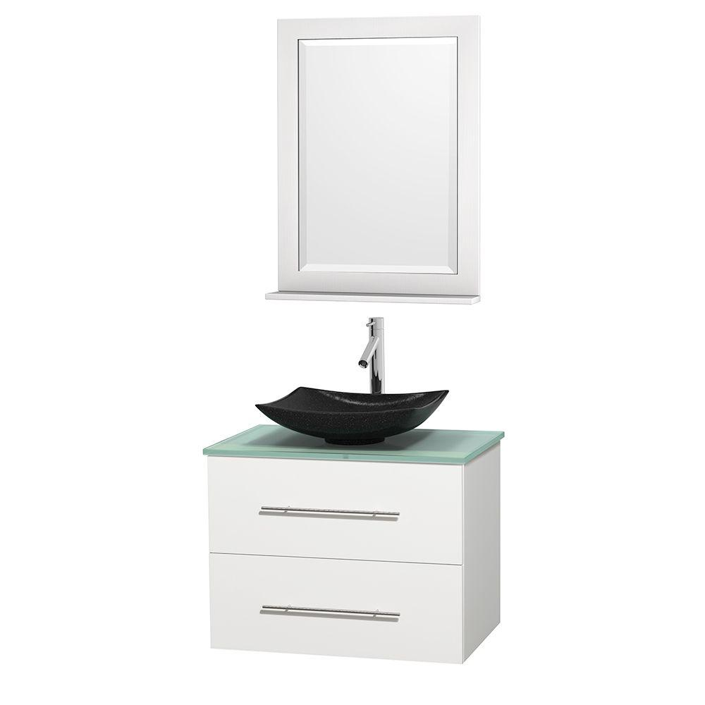 Wyndham Collection Centra 30 in. Vanity in White with Glass Vanity Top in Green, Black Granite Sink and 24 in. Mirror