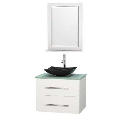 Centra 30 in. Vanity in White with Glass Vanity Top in Green, Black Granite Sink and 24 in. Mirror