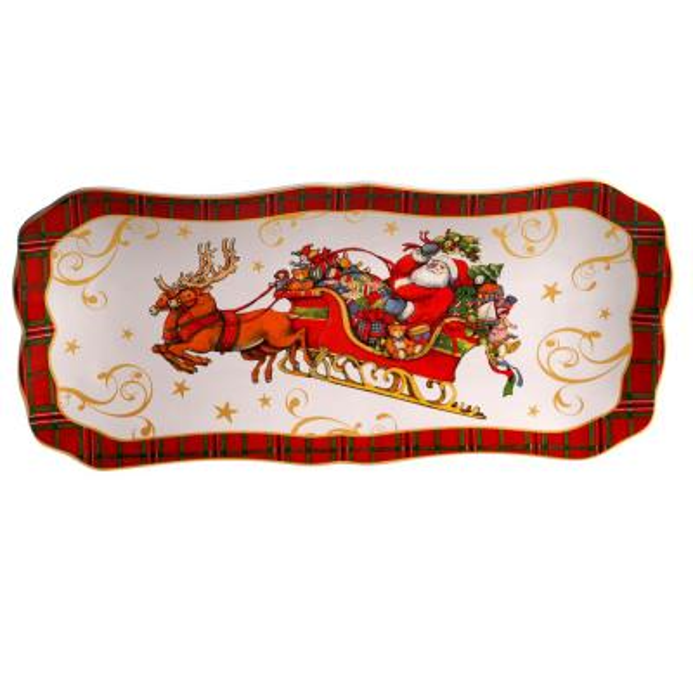 Vintage Santa Multi-Colored 14 in. Earthenware Rectangular Platter