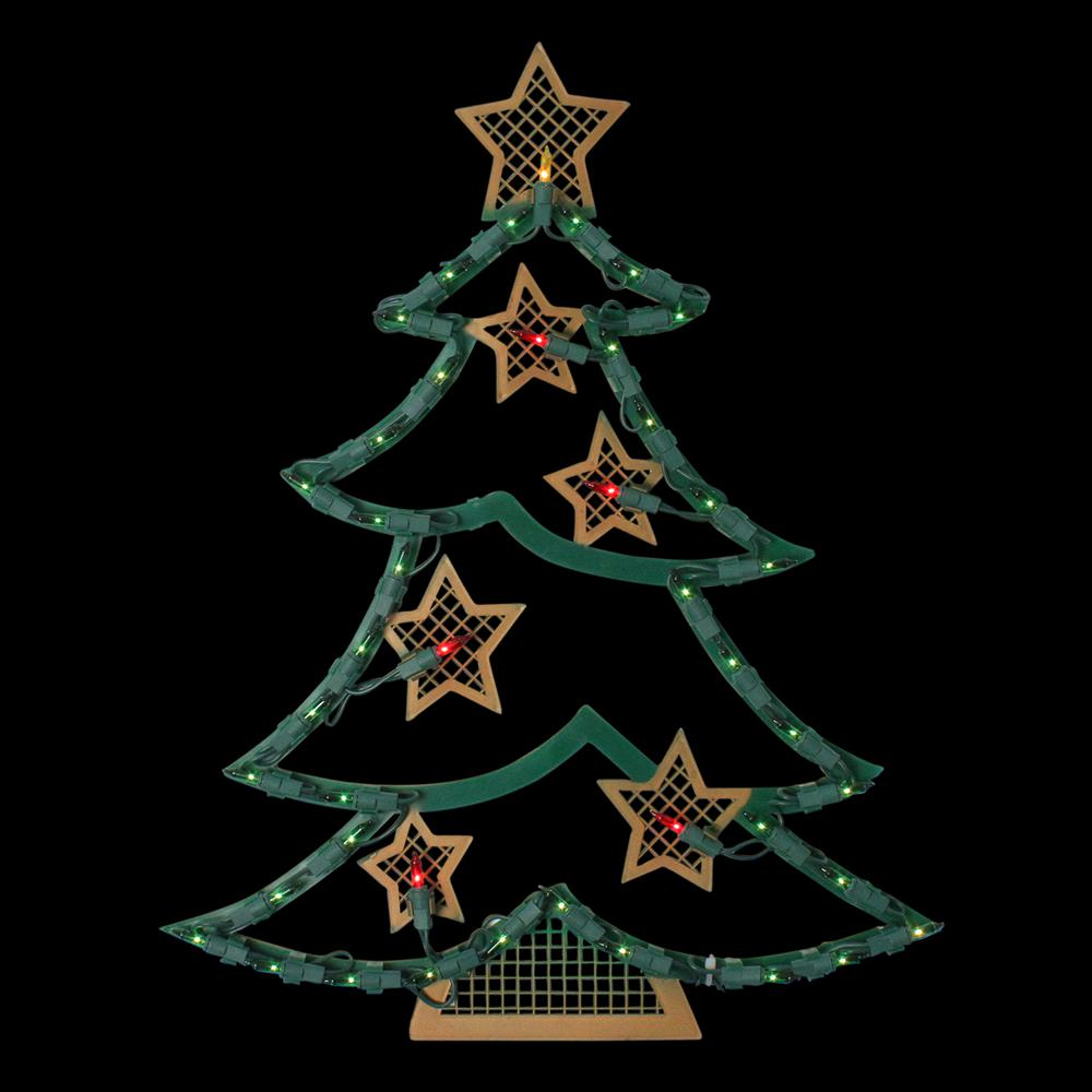 Northlight 17 75 In Lighted Christmas Tree With Stars Window Silhouette