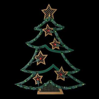 17.75 in. Lighted Christmas Tree with Stars Window Silhouette