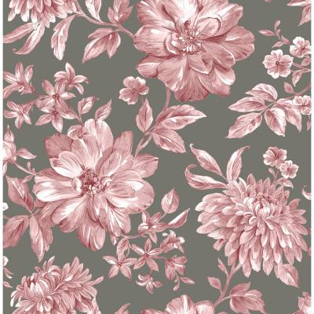 Gabriela Rasberry Floral Pink Wallpaper Sample