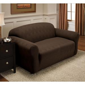 Chocolate Optic Loveseat Stretch Slipcover