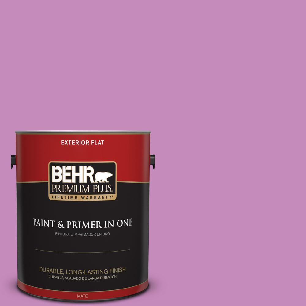 BEHR Premium Plus 1 gal. #P110-4 Rock Star Pink Flat Exterior Paint ...