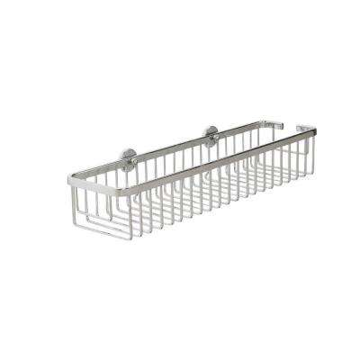 Aluminum 3 in. H x 17.75 in. W x 4.75 in. D Slim Long Cosmetic Basket in Chrome