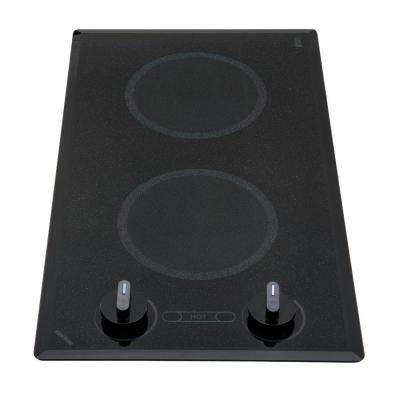 Mediterranean Series 12 in. Smooth Glass Radiant Electric Cooktop in Speckled Black with 2 Elements