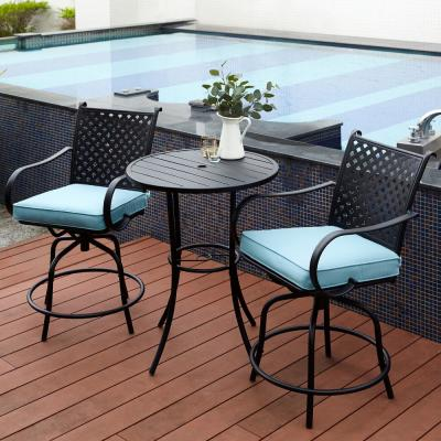 Black 3-Piece Swivel Steel Bar Height Outdoor Patio Bistro Set with Blue Cushions