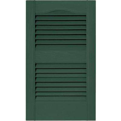 15 in. x 25 in. Louvered Vinyl Exterior Shutters Pair in #028 Forest Green