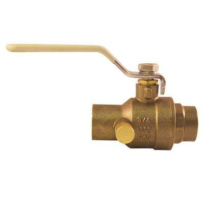 3/4 in. Brass SWT x SWT Ball Valve with Waste Solder Full-Port
