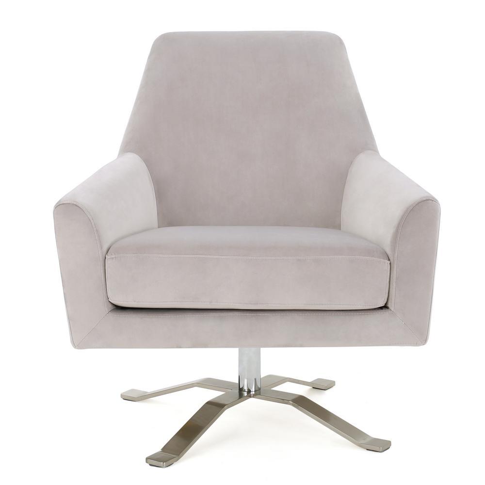 Ailis Light Grey Velvet Swivel Club Chair