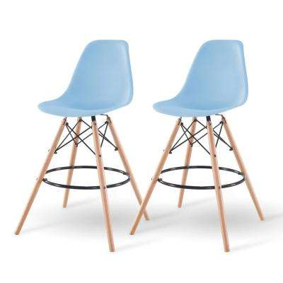 43 in. Blue Bar Stool (Set of 2)