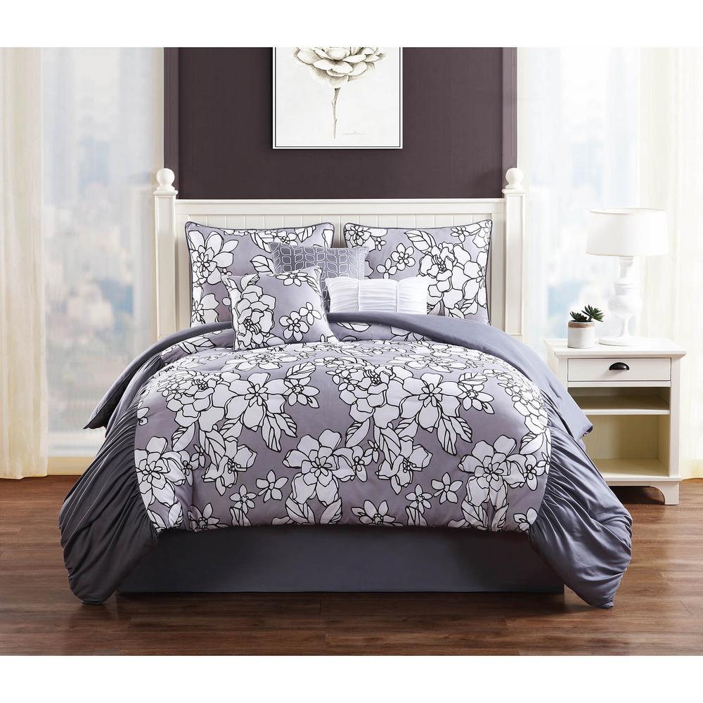 studio 17 province grey 7piece fullqueen comforter set