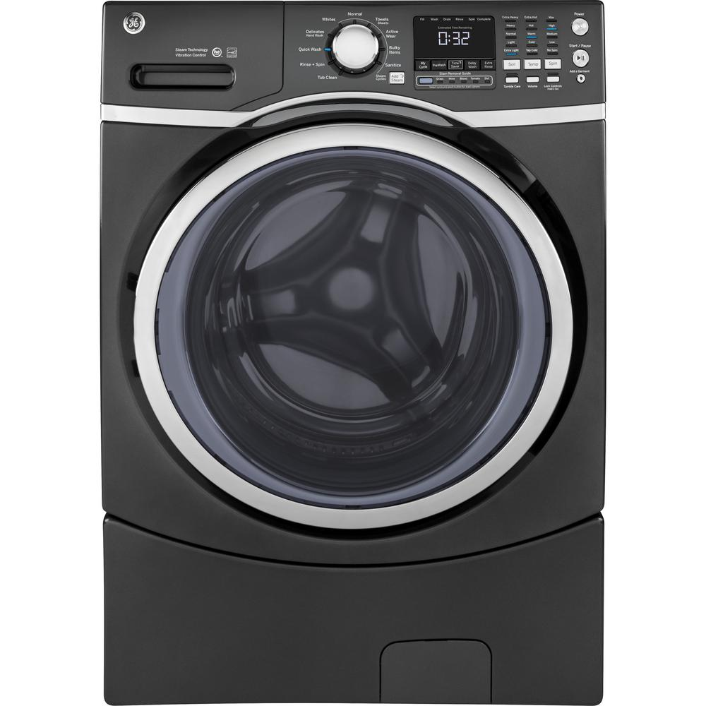 GE 4.5 cu. ft. High-Efficiency Diamond Gray Front Load Washing Machine with Steam, ENERGY STAR