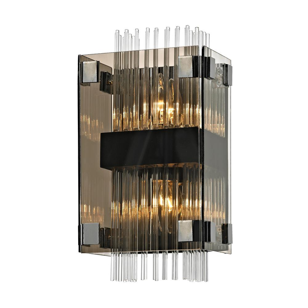Troy Lighting Apollo 2-Light Dark Bronze and Polished Chrome 14 in. W Wall Sconce with Plated Smoked Glass with Clear Glass Rods