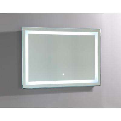 39 in x 28 in White LED Lighted Rectangle Bathroom Vanity Mirror With Touch Sensor